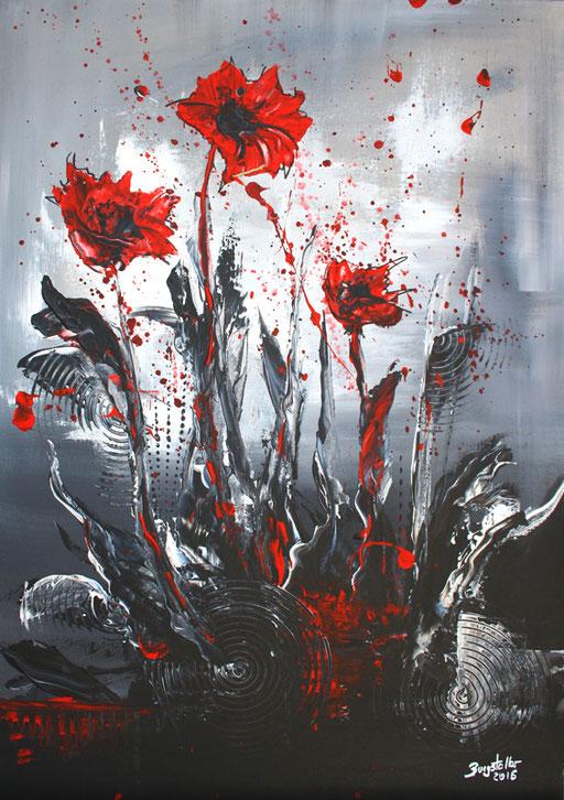 B 22 - Blumenbilder auf Leinwand - Blüten im Sturm