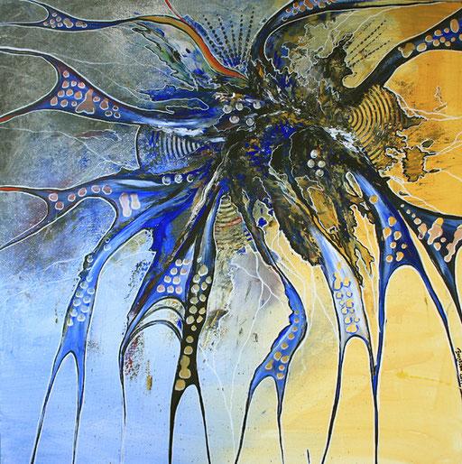 212 Verkaufte abstrakte Malerei - Water Wasser gemalt - blau gelb silber