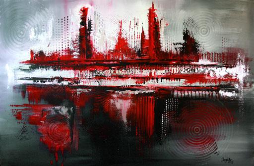 150 Verkaufte Bilder abstrakt - Rot Silber - Red Silver