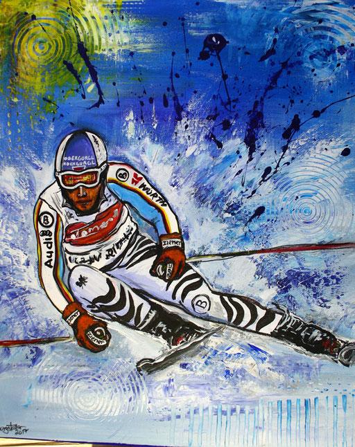 S 34 - Sport Gemälde Skifahrer Leinwandbild - Fritz Dopfer 20