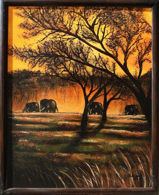 T 6 - Tierbilder Gemälde Tiere - Elefanten modern bunt