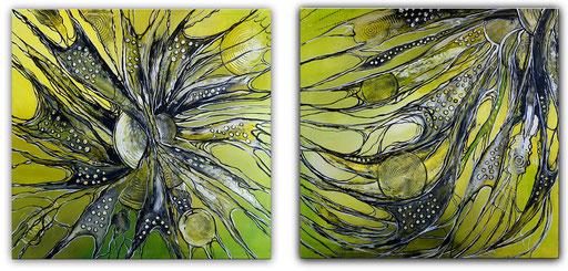 257 Verkaufte abstrakte Malerei xxl gelb grau zweiteilig