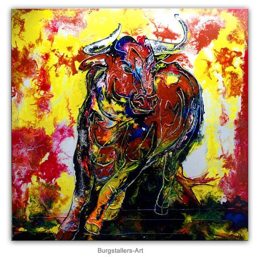 T 34 - Tierbilder Malerei Tiere - Wilder Stier abstrakt braun gelb