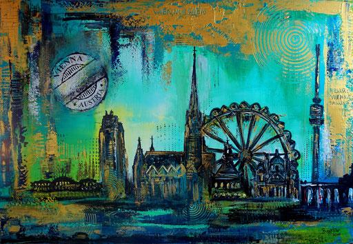 S 94 - Malerei Bild Wandbild Wien Skyline Prater abstrakt