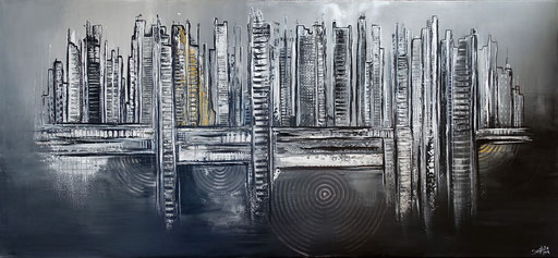268 - Abstrakte Gemälde Verkauft - Schwarz weiß gold Auftragsmalerei