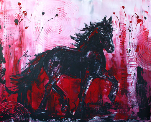 T 11 - Tierbilder Malerei Tiere - Pferd Hengst grau
