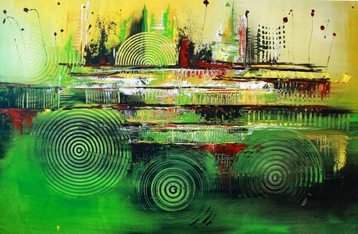 80abstraktes Unikat handgefertigt - Grün Gelb Wandbild