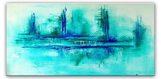 298 - Abstraktes Gemälde mintgrün Türkis 70x140cm