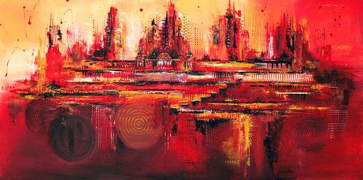 129 Verkaufte abstrakte Bilder - Naumilkat Berlin - orange rot gelb