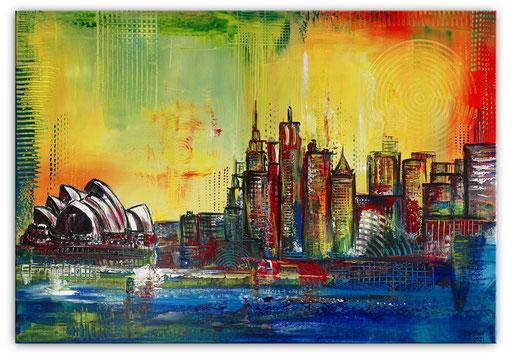 S 90 - Malerei Bild Wandbild Sydney Skyline abstrakt