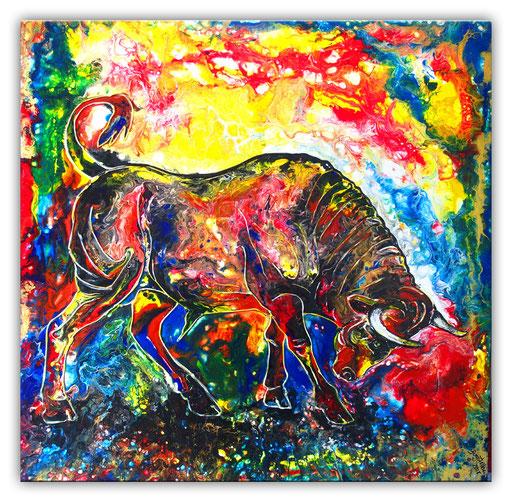 T 37 - Tierbilder Malerei Tiere - Wilder Stier abstrakt braun gelb