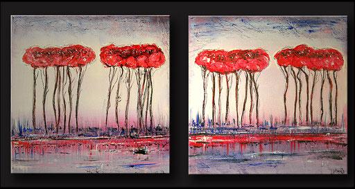 B 58 - Mohnblumen Wald abstrakt lila blau rot moderne Blumenmalerei