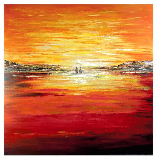 L 37 Sunset View auf dem Segelboot Gemälde Acrylbild Malerei