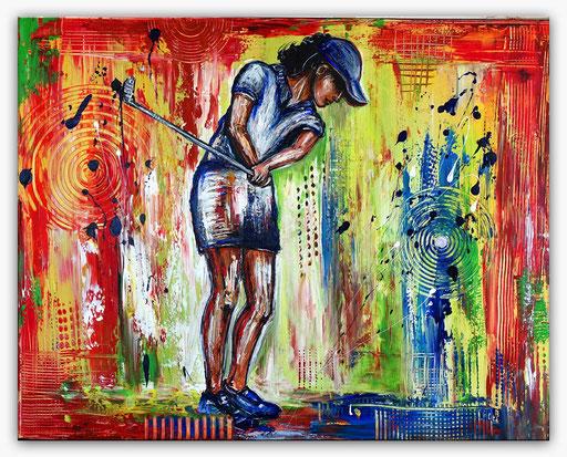 S 39 - Sport Gemälde Wandbild Golferin Abschlag