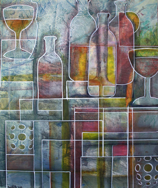 60 abstraktes Unikat handgefertigt - Flasche Gläser - grün rot gelb