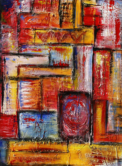 68 abstraktes Unikat handgefertigt - Geometrie 2 - rot gelb blau orange