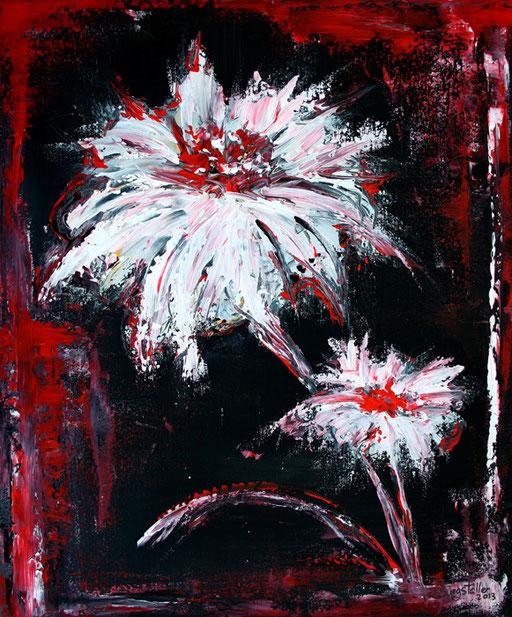 B 5 - Blumenbilder auf Leinwand - Blumen weiß rot
