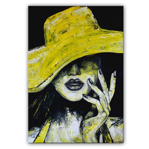 P 62 - Porträt Gesichter Malerei - Frau mit gelbem Hut 1