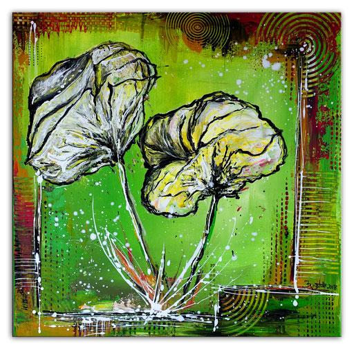 B 37 - handgemalte Blumenbilder Blumen Gemälde Mohnblumen Weiß Grün