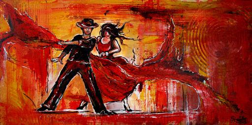 S 4 - Tanz Gemälde Tänzer Bild - Flamenco Tanzpaar