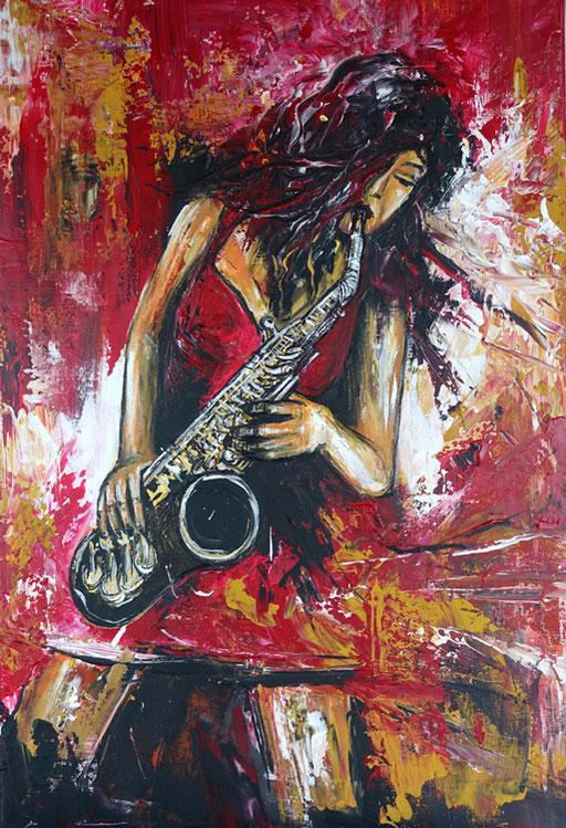 F 51 - Figuerliche Malerei - Figurative Wandbilder - Saxophon Spielerin