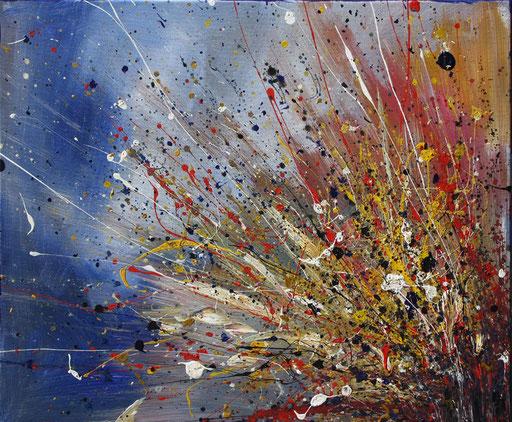 50 Handgemalt abstrakte Unikate - Explosion - blau grau rot orange