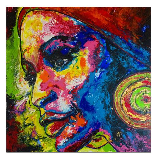 P107 Porträt Malerei Fluid Art Pouring Frauen Gesichter