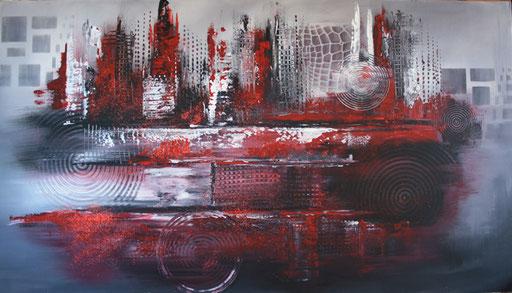 143 Verkaufte Bilder abstrakt - Red City - Rote Stadt gemalt