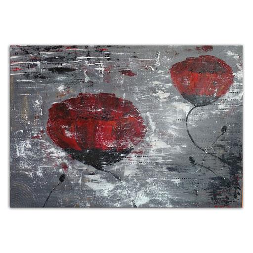 B 72 Mohnblumen grau rot 50x70 quer