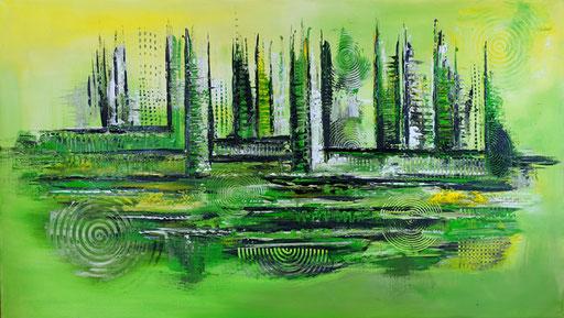 209 Verkaufte abstrakte Malerei - Waldrand gemalt - grün gelb