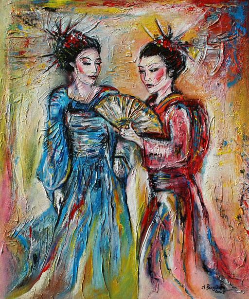 F 21 - Figuerliche Malerei - Figurative Wandbilder - Geisha 2