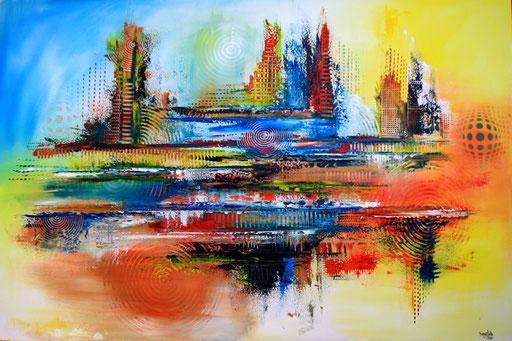 58 abstraktes Unikat handgefertigt - Fischer - blau rot orange gelb
