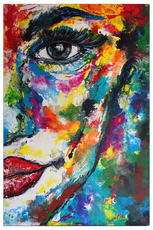 P117 Porträt Malerei Fluid Art Pouring Frauen Gesichter