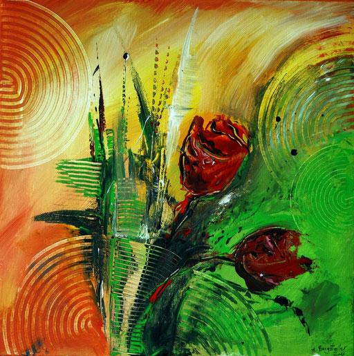 B 24 - Blumenbilder auf Leinwand - Tulpen abstrakt
