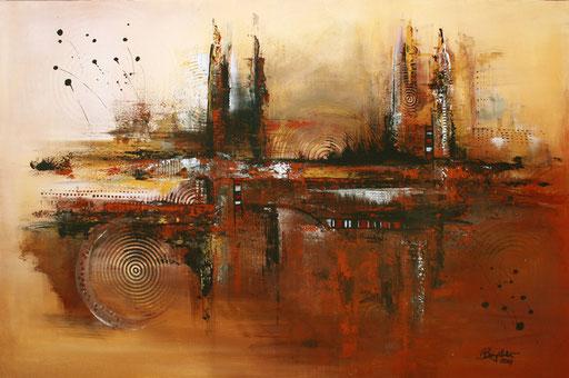 34 Kunst Unikat abstrakt - Desert - braun gelb