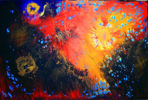 52 abstraktes Unikat handgefertigt - Farbtitanen - blau rot gelb