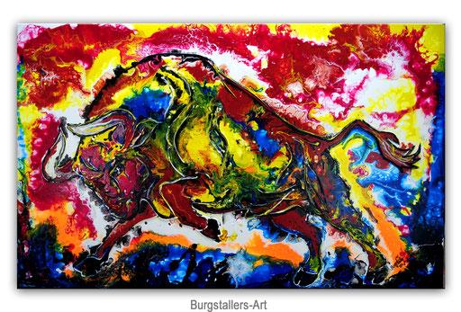 T 35 - Tierbilder Malerei Tiere - Wilder Stier abstrakt braun gelb rot