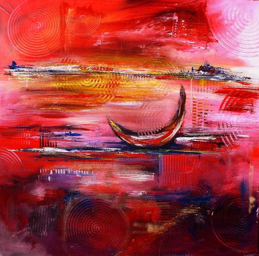 145 Verkaufte Bilder abstrakt - Red Sunset - rot gelb weiß