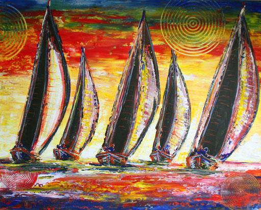 L 10 - Landschaftsbilder Gemälde - Segelboote Sturmsegel