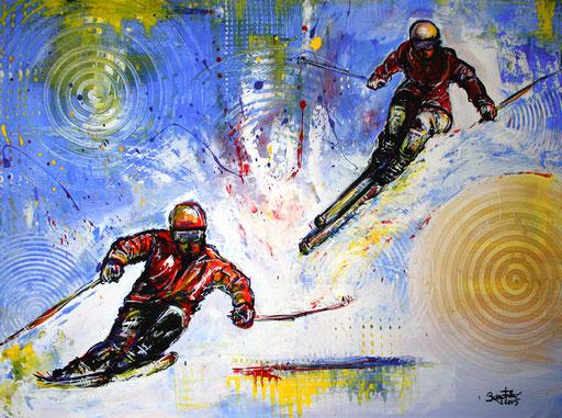 S 11 - Sport Gemälde Skifahrer Leinwandbild - Powder