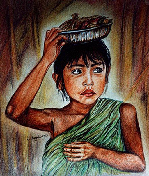 P 55 - Künstler Portrait Gesichter Gemalt - Bali Mädchen