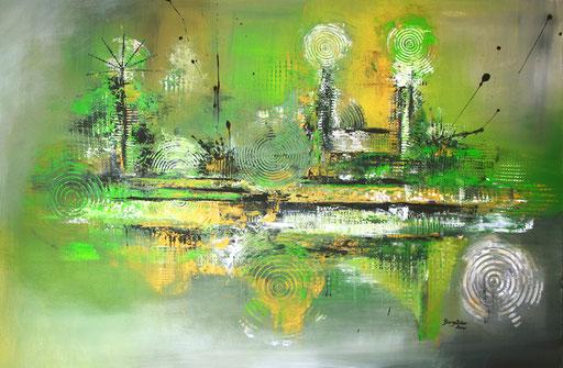97 Verkaufte abstrakte Bilder - Inspires 2 - grün grau gelb