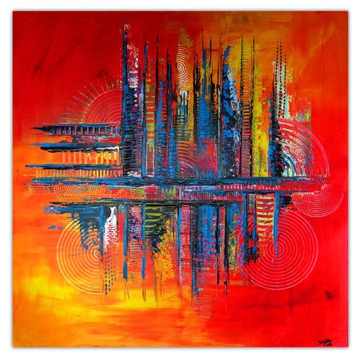 310 - Sunset abstrakt rot gelb 100x100