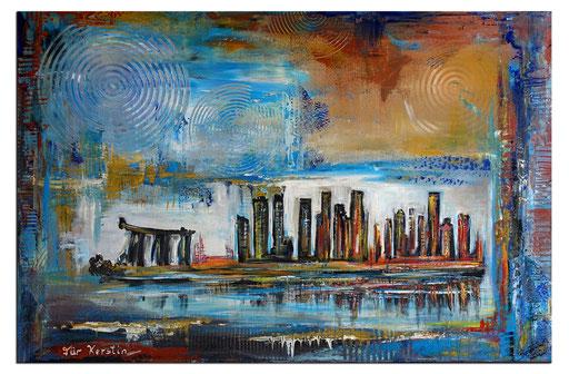 S 82 - Malerei Bild Wandbild Singapur Skyline abstrakt