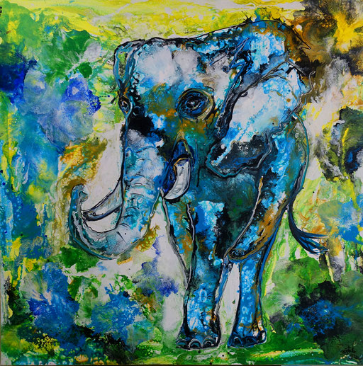 T42 Elefantenbulle Gemälde Acrylbild Original