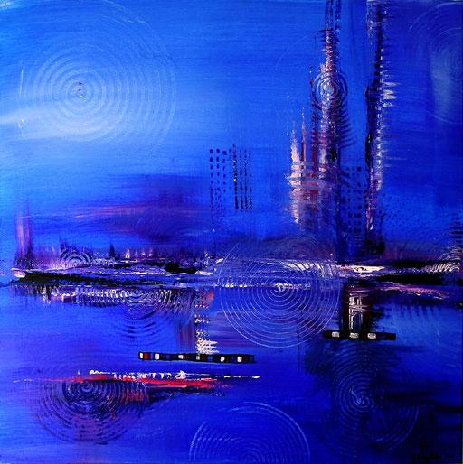 10 Handgemaltes Unikat abstrakt - Atlantis - blau lila