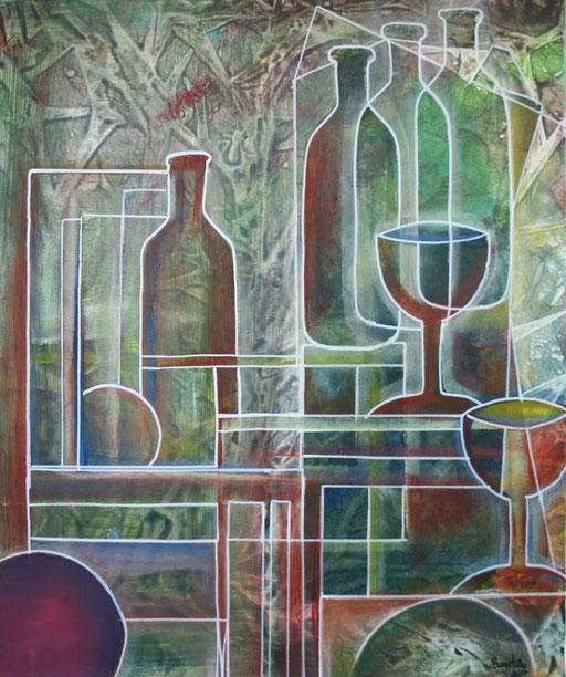 59 abstraktes Unikat handgefertigt - Flasche Gläser - grün rot gelb