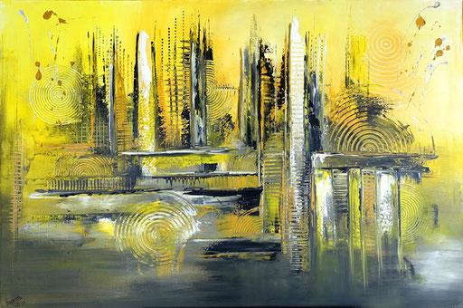 155 Verkaufte Bilder abstrakt - Sahara gemalt - gelb grau