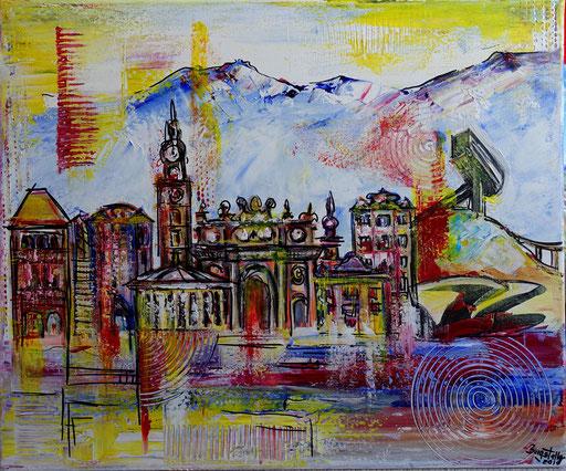 S 47 - Innsbruck abstrakt mit Bergisel 50x70 - Malerei Stadtbild Stadt Gemälde