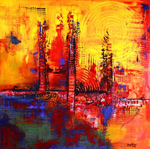 94 Verkaufte abstrakte Bilder - Infinity - gelb blau rot